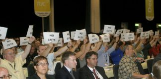 Delegates make sure that Prime Minister Brown knows how they feel about his government's cuts policies