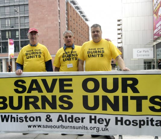 Campaigners outside the TUC Congress fighting to keep specialist burns units at the Alder Hey and Whiston Hospitals on Merseyside