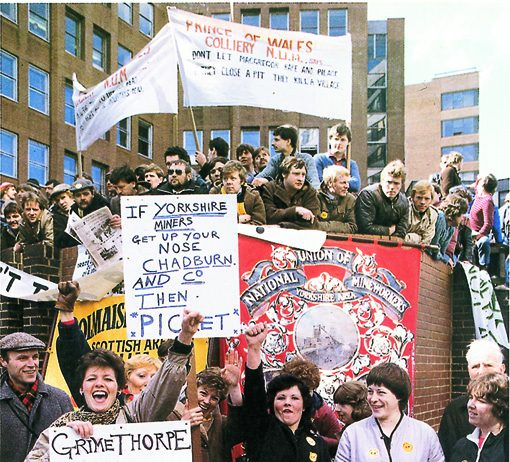 Women's support groups demonstrate outside the NUM executive meeting in Sheffield on April 12