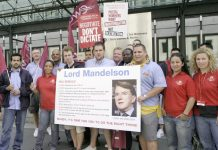 Striking postal workers are demonstrating outside the Labour Party conference tomorrow