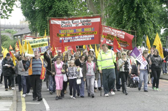 North East London Council of Action demonstration in Enfield demanding that Chase Farm Hospital be kept open