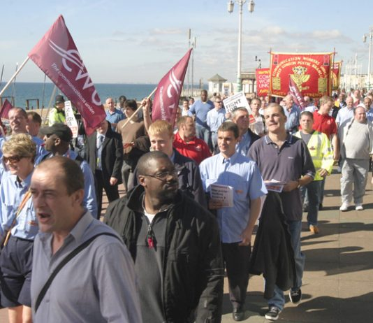 Postal workers lobbying the Labour Party Conference in Brighton yesterday demanding no privatisation of Royal Mail
