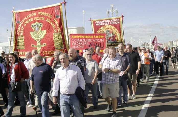 Post workers marching to lobby the Labour Party in Brighton