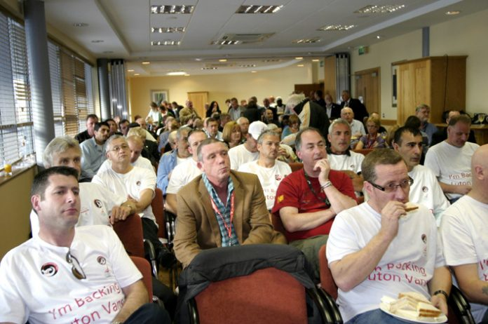 Shop stewards from Luton GMM at the front of a fringe meeting at the TUC Congress to defend Vauxhall jobs. There was no union representation present at the meeting on Tuesday night when workers were told 354 would be sacked