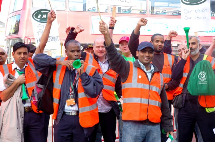 London United RMT busworkers lobbying Hounslow bus garage yesterday demanding union recognition