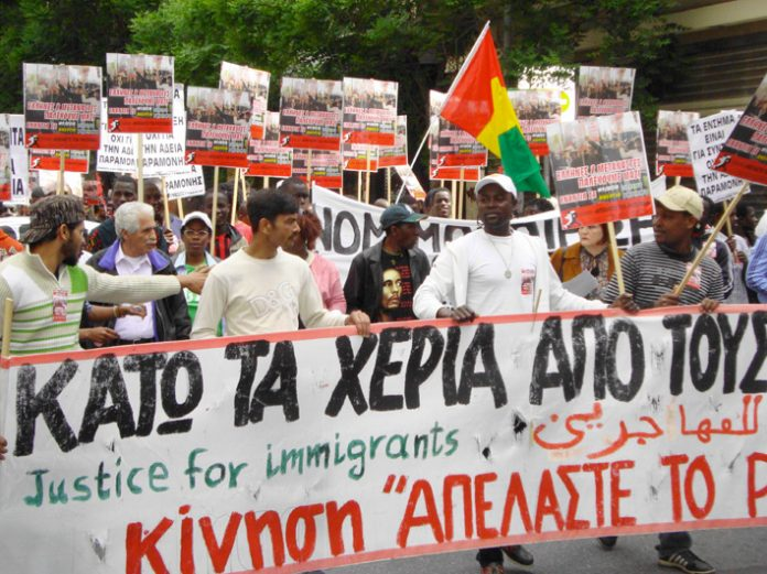 Demonstrators in Athens on May 1st marching in support of immigrant workers