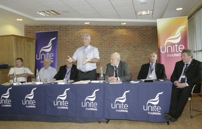 Unite National Officer DAVE OSBORNE opening a TUC fringe meeting on Vauxhall last month. Business Minister Ian Lucas was invited but did not attend