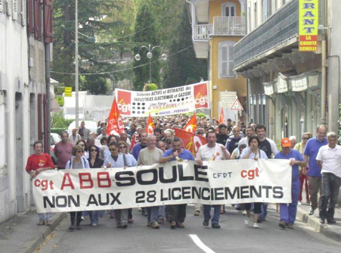 The front of the 500-strong march in Bagneres de Bigorre