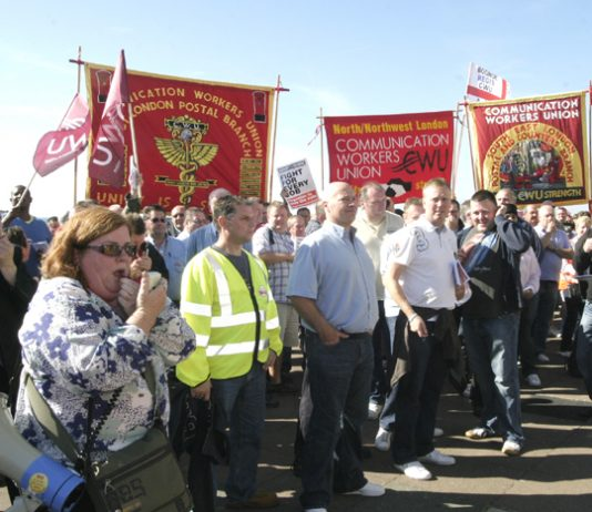 Postal workers lobbying the Labour Party Conference last month