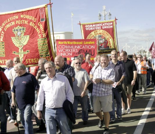 Post workers lobbying the Labour Party Conference last month demanding an end to job cuts and privatisation plans