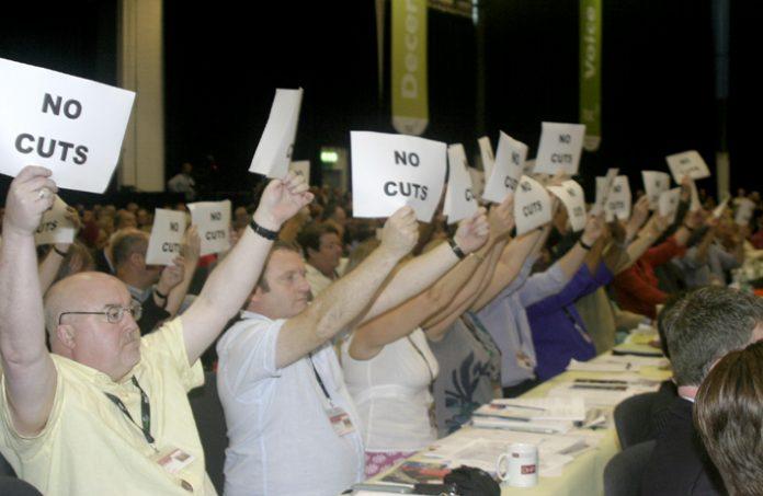 PCS delegates at TUC last month warn Brown 'No Cuts'