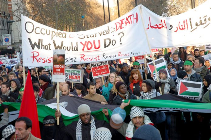 Demonstrators in London last January show their support for Palestinian resistance to the Israeli occupation