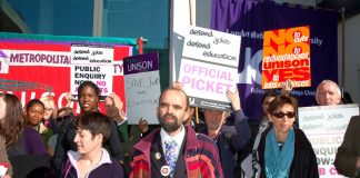 A section of yesterday's lunchtime rally of striking staff and students outside London Metropolitan University yesterday