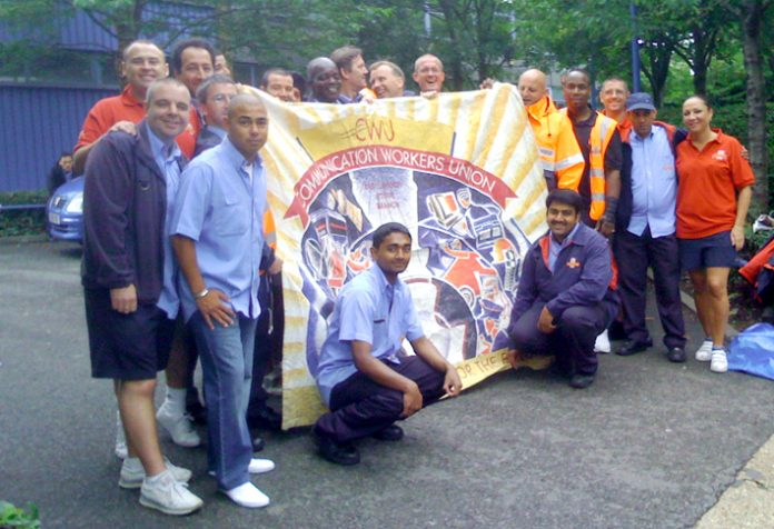 CWU pickets at the E3 delivery Office showing confidence that they will win their struggle