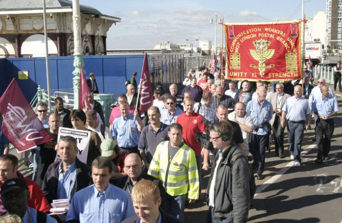 Postal workers demonstrated at the Labour Party Conference, but their case has been dismissed by Brown and Mandelson