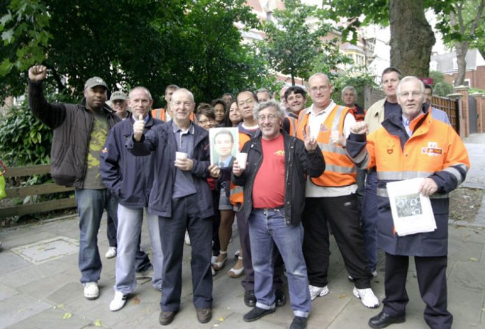 CWU pickets at the Hampstead Delivery Office – determined to keep Royal Mail as a public service