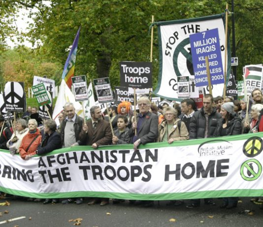 The front of the over 10,000-strong march in London on Saturday to demand withdrawal of British troops from Afghanistan