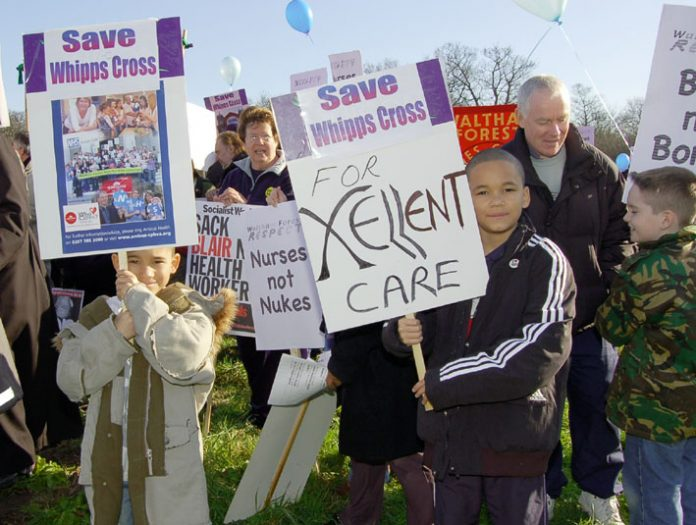 Protest in February 2007 against the closure of Whipps Cross Hospital