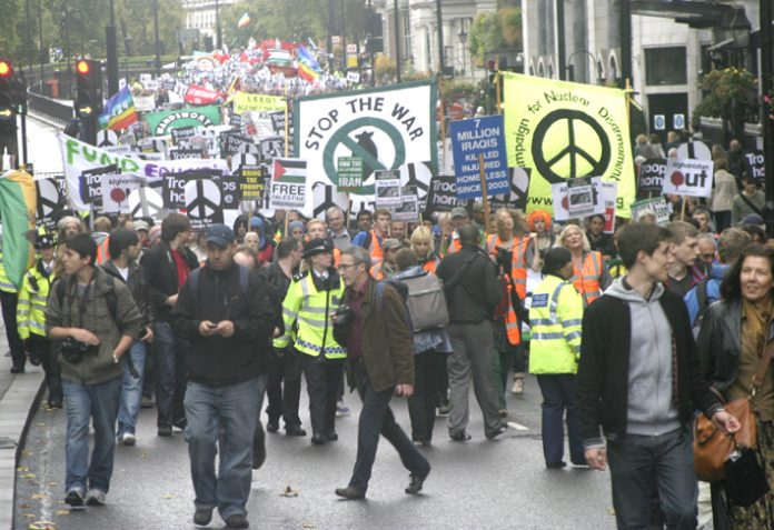 A section of last Saturday's demonstration in London against the war on Afghanistan