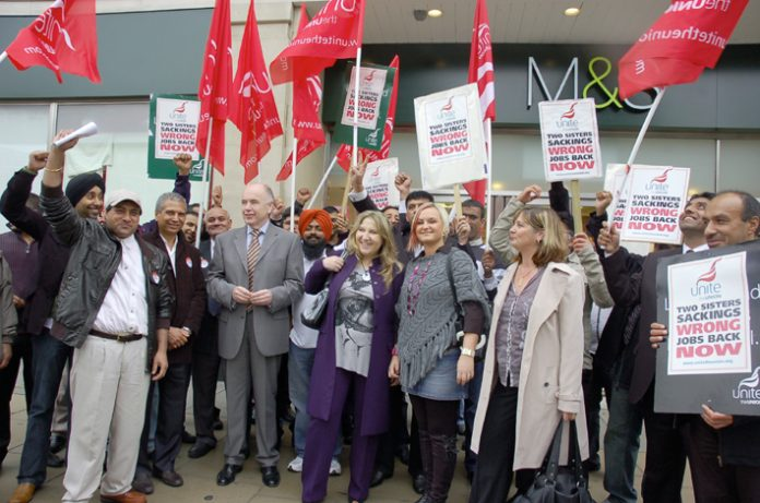 Sacked 2 Sisters workers demonstrating outside Marks & Spencer's 'flagship' store in Oxford Street. Unite assistant general secretary JACK DROMEY (centre) pledged 'We will win the jobs back of these 59 workers'