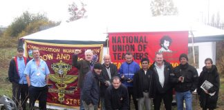 Local NUT members came to support CWU pickets at the Greenford Mail Centre in West London yesterday morning