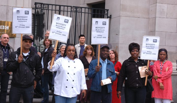Sacked BBC canteen workers demonstrating outside Bush House in Central London yesterday