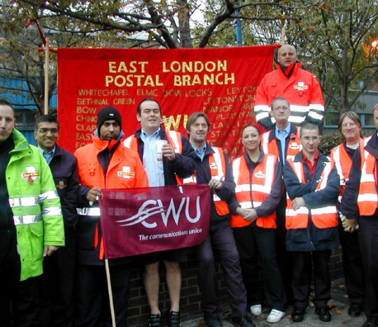 CWU members in Bow, east London, fighting to defend their jobs and stop the casualisation of Royal Mail