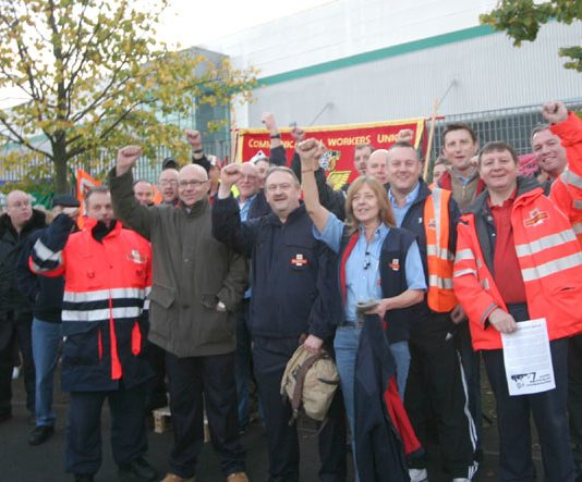 Strikers picketing the East London Mail Centre on October 22nd