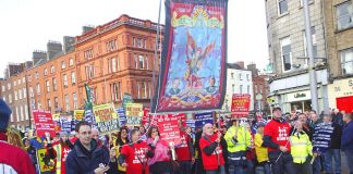 SIPTU banner on the 100,000-strong march through Dublin on Friday