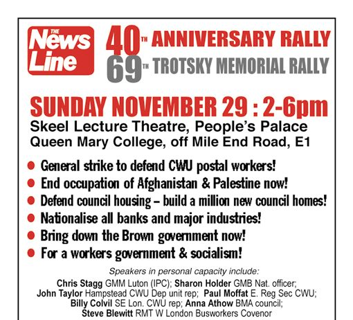 NEWS LINE ANNIVERSARY RALLY Sunday November 29th