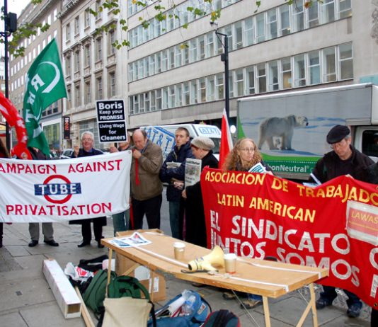 The Campaign Against Tube Privatisation and the Latin American Workers Movement joined the protest called by the rail union RMT