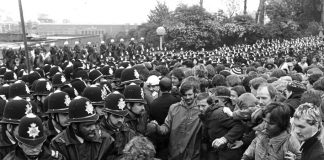 Police confront miners at the battle of Orgreave coke depot, June,1984