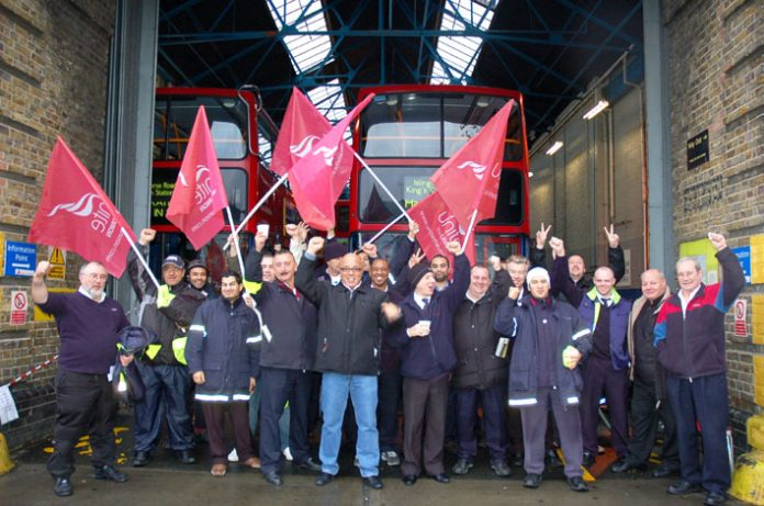 Bow busworkers out in force on their picket line yesterday morning won't accept a wage freeze