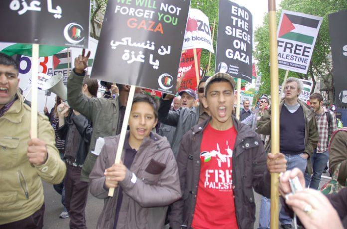 Marchers in London last May demanding an end to the siege on Gaza on the demonstration to commemorate the Nakba Day (Day of Catastrophe) on May 15 1948 when the state of Israel was created as Palestinians were driven from their homes and villages