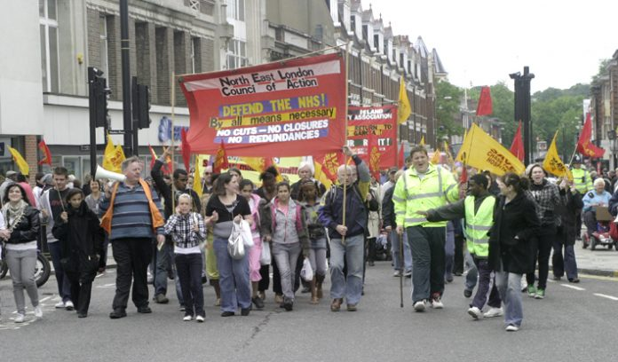 One of the marches through Enfield organised by the Council of Action calling for the occupation of Chase Farm Hospital if there is any attempt to close it