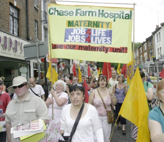 Chase Farm Hospital midwives with their banner marching in July 2008 to demand that the hospital be kept open