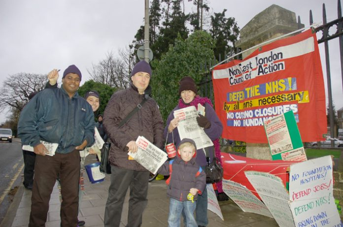 North Est London Council of Action picket of Chase farm Hospital yesterday morning