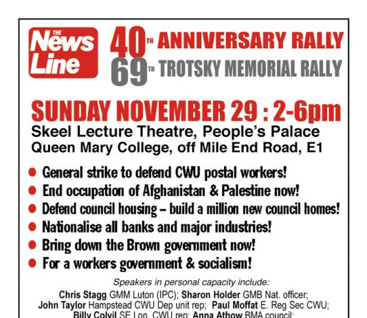 THIS SUNDAY 29 NOV – News Line Anniversary Rally