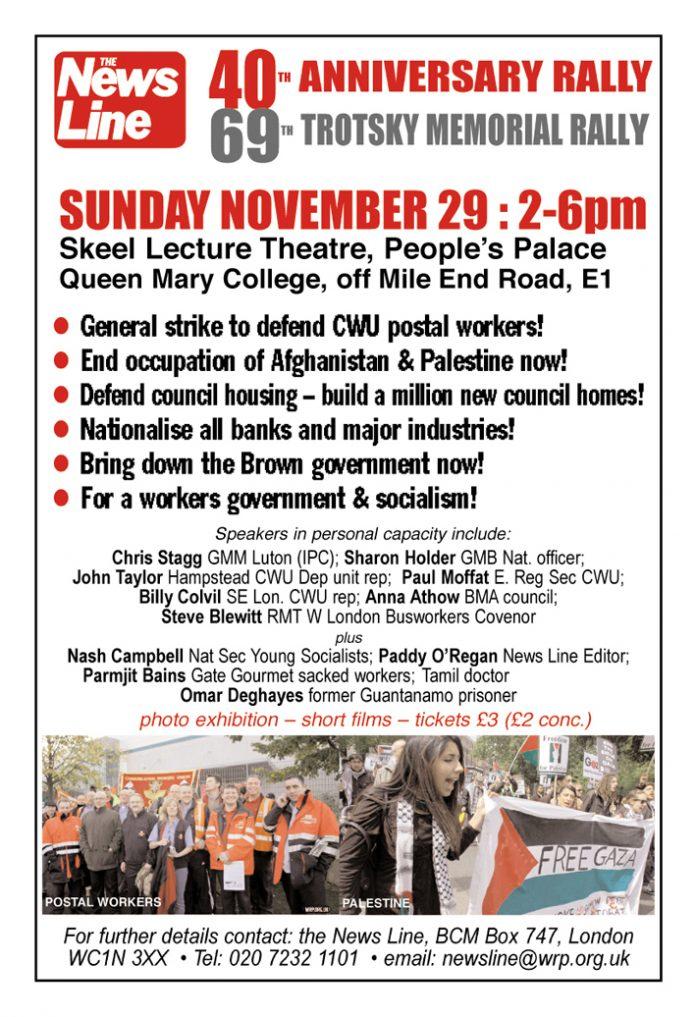 THIS SUNDAY 29 NOV – News Line Anniversary Rally
