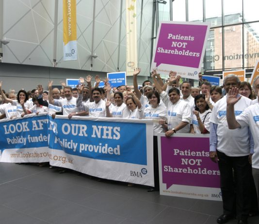 Hospital doctors and GPs at BMA Annual Meeting which decided to look after the NHS and fight against privatisation