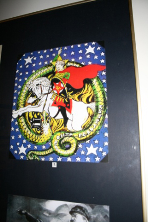 Trotsky being portrayed as St George, spearing the bourgeois serpent representing capitalism