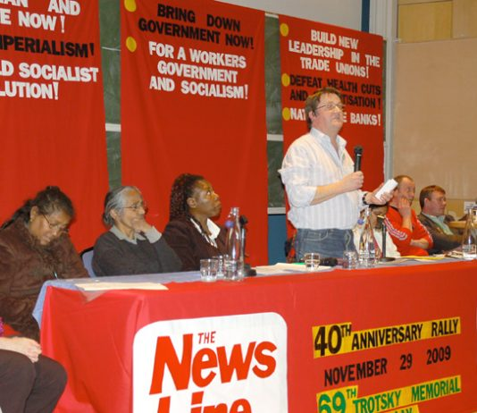 Workers Revolutionary Party General Secretary FRANK SWEENEY addressing yesterday's News Line Anniversary Rally