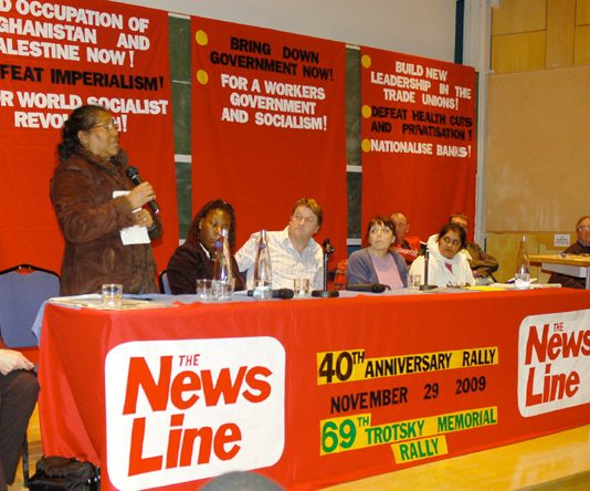 LUCETTE MANDARIN condemning the Labour government's treatment of the Chagos Islanders from the speakers' platform
