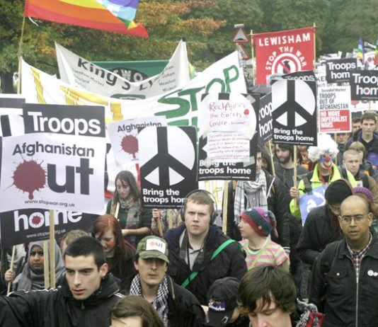 A section of the march in London on October 24 against the war on Afghanistan demanding troops out