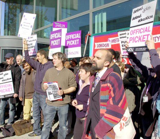 UCU strikers and supporters demonstrate outside London Metropolitan University against plans to slash 800 jobs