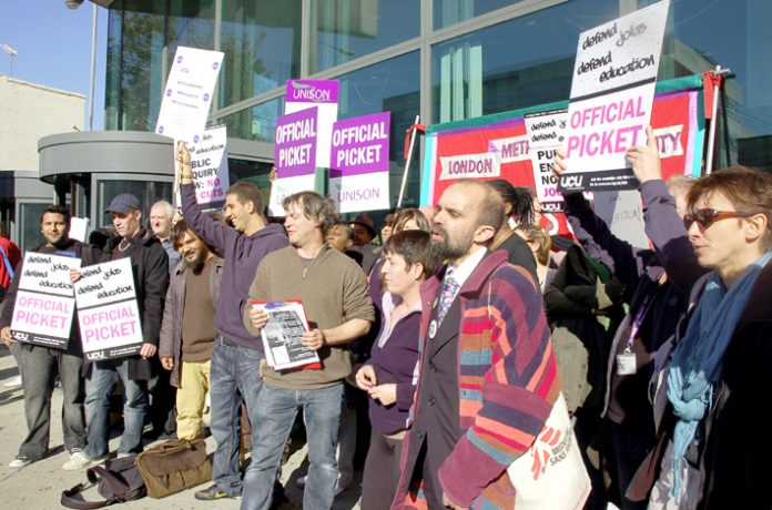 UCU strikers and supporters demonstrate outside London Metropolitan University against plans to slash 800 jobs