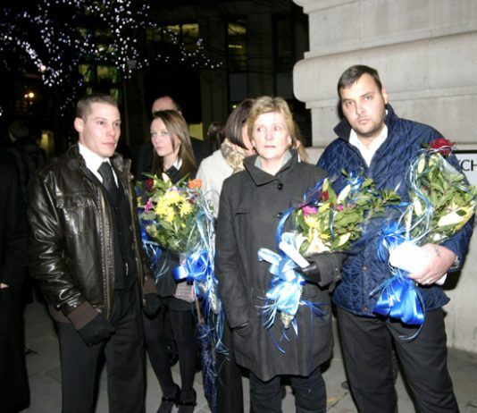 The Tomlinson family arriving for the vigil with solicitor JULES CAREY (left)