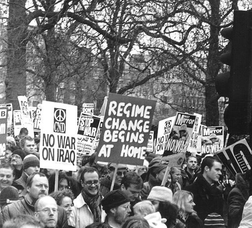 Marcher with a clear message on the two million-strong demonstration in London on February 15 2003 against the war on Iraq
