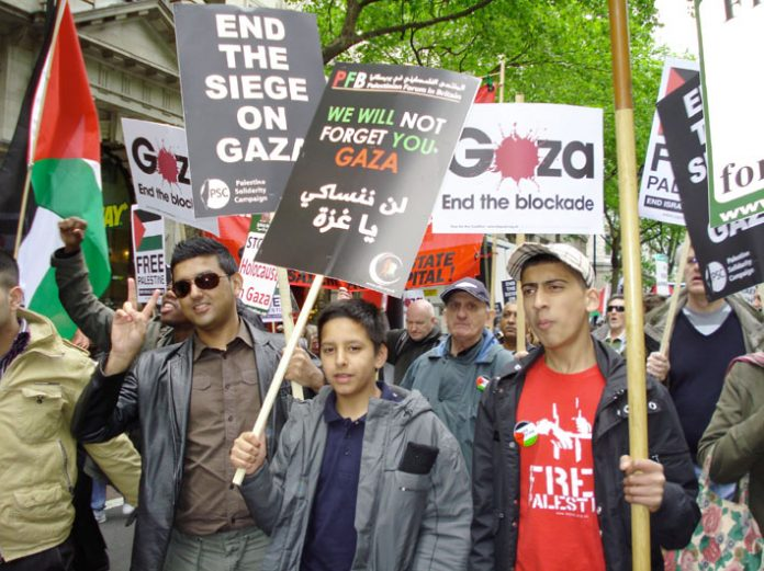 Youth in support of Palestine marching in London last May