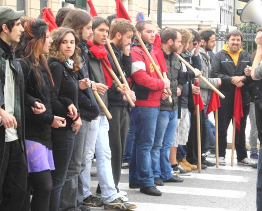 On the front line – courageous youth march to remember the murder of 15-year-old Alexis Grigoropoulos who was killed by police a year ago